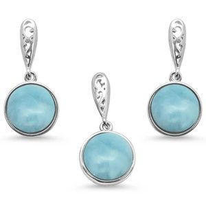 natural larimar round pendant and earrings set